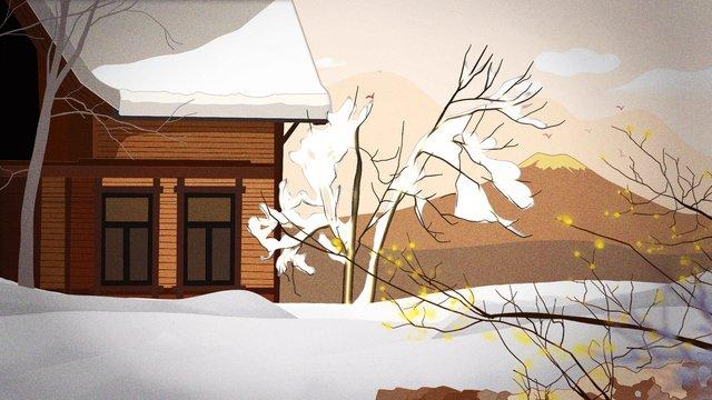 winter hello big snowy retro cottage beauty llustration image illustration image