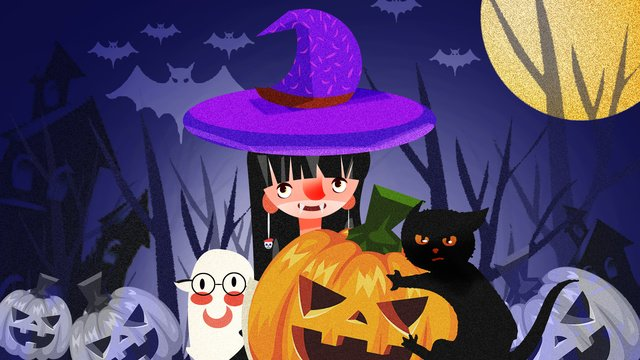 halloween night witch pumpkin party carnival illustration llustration image