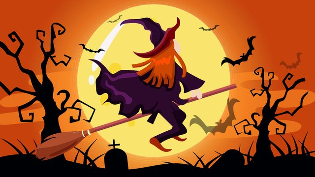 ハロウィーンの小さな魔女 イラスト素材 イラスト画像