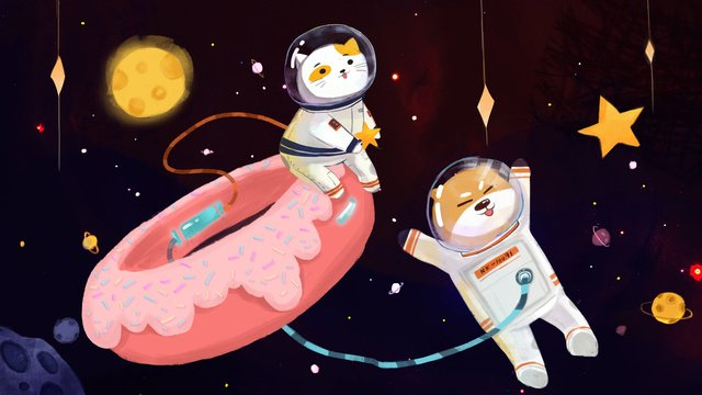 Wonderful space donuts comet and  xingren llustration image