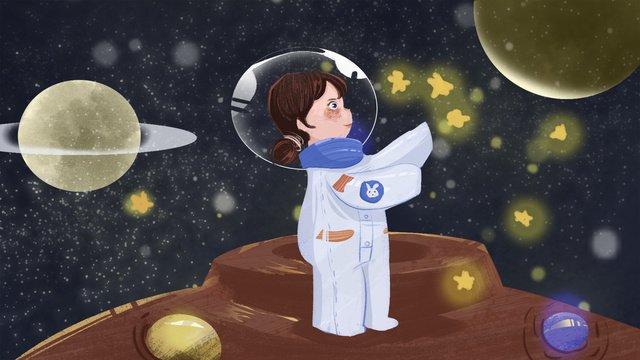 original illustration little girls fantasy space tour llustration image illustration image