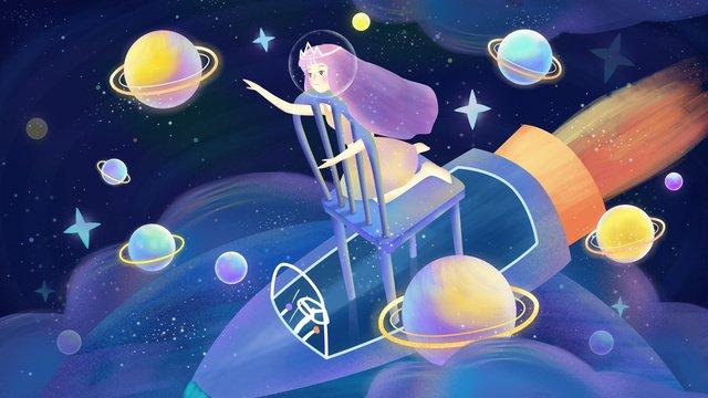 original hand painted illustration fantastic space girl starry sky llustration image illustration image