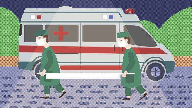 평면 바람 세계 구급차 구조 장면 일러스트 레이션 삽화 소재 삽화 이미지