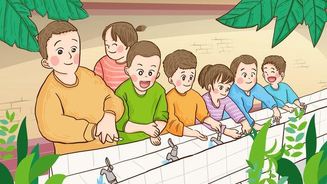 世界手洗いデー子供たちが手を洗うために並ぶ手描きオリジナルイラスト イラスト素材 イラスト画像