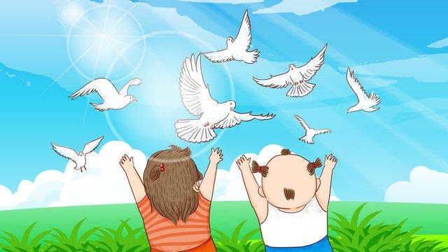 विश्व शांति दिवस के विशाल घास मैदान में शांतिपूर्ण कबूतर का चित्रण चित्रण छवि