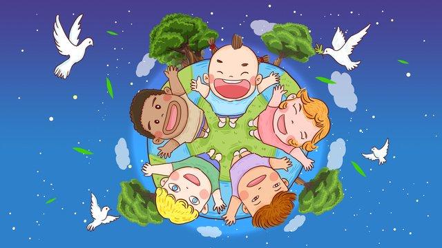 世界平和デー、世界中の子供たち、ハトの飛行、イラスト イラスト素材