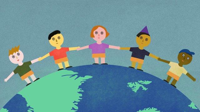 世界平和デーの子供たちが地球上で手をつないで立っている イラスト素材