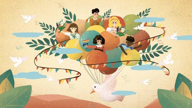 世界平和デー熱気球平和鳩イラスト イラスト素材 イラスト画像