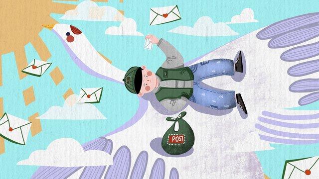 world post dayのキュートで温かい配達状イラスト イラスト素材