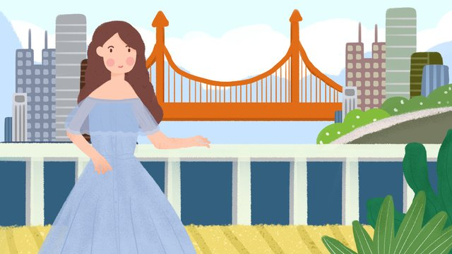 世界観光日少女旅行ツアーオリジナルの小さな新鮮な手描きのイラスト世界観光デー  少女  旅行する PNGおよびPSD illustration image