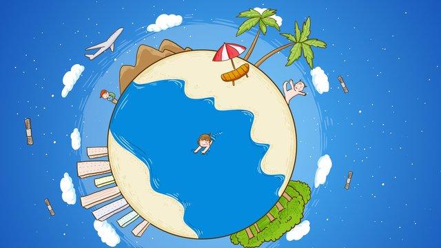世界観光日旅行地球手描きオリジナルイラスト イラスト素材 イラスト画像