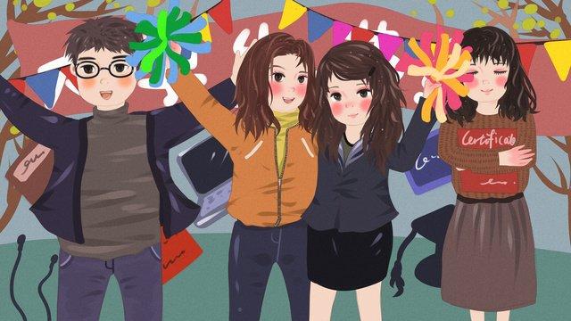 original illustration of a college student party celebrating world university day llustration image illustration image