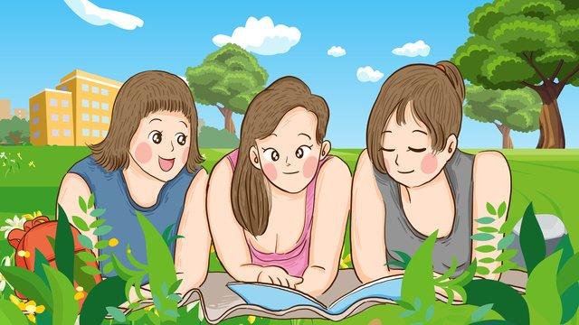 Ngày sinh viên đại học thế giới ba chị em đọc sách vẽ tay minh họa gốcNgày  đại  Học PNG Và PSD illustration image
