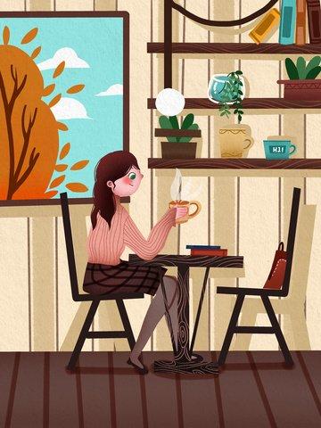 세계 대학 학생 소녀 커피 따뜻한 그림을 마시는 숍에 앉아 삽화 소재