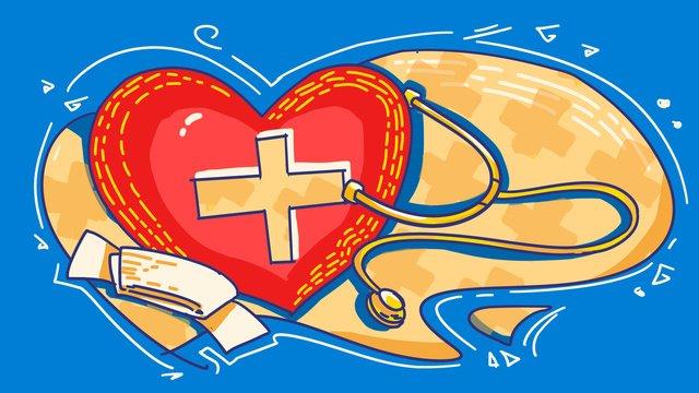 세계 응급 지원 일 크로스 붉은 심장 거즈 청진 기 그림 삽화 소재 삽화 이미지
