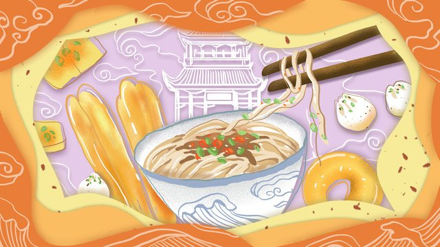 Wuhan special food original illustration, Wuhan, Hot Noodles With Sesame Paste, City Cuisine illustration image