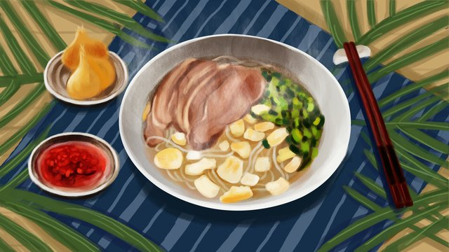 Original illustration shaanxi mutton soaked delicious, Xian, Steamed Mutton, Food illustration image