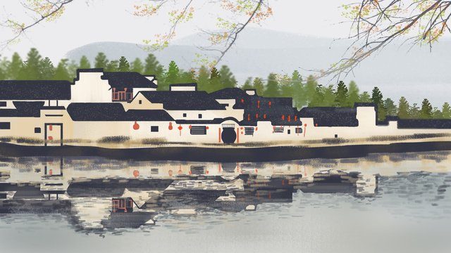 The most beautiful xitang ancient town jiangnan water hand painted illustration llustration image illustration image