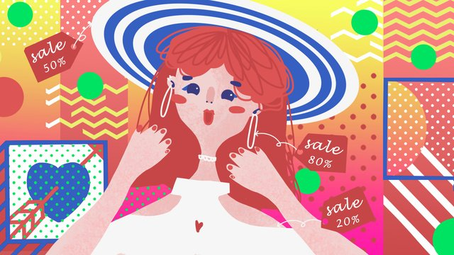 Cool girl taobao carnival pop style fashion illustration, Yellow, Red, Blue illustration image