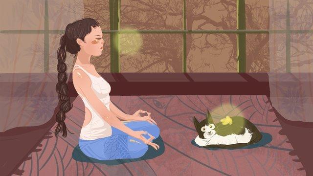 cô gái yoga minh họa gốc Hình minh họa