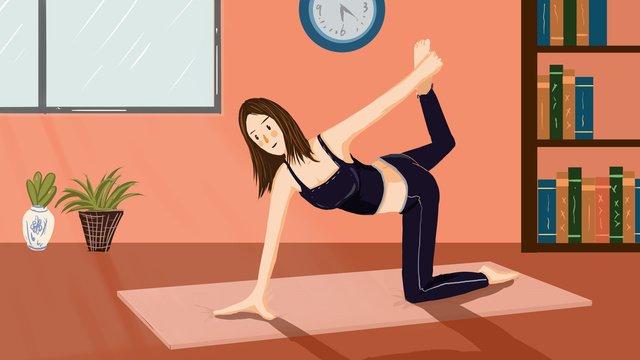 Áp phích minh họa yoga fitness morning girl với hình Hình minh họa