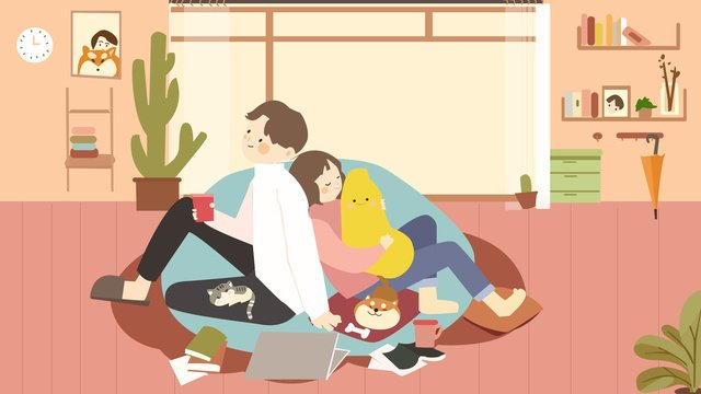 pencinta bersama pada hari kasih sayang warna ilustrasi imej keterlaluan