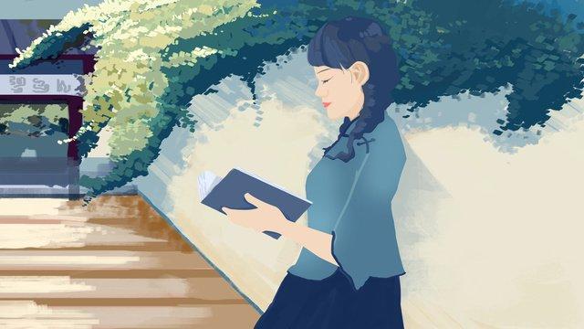 中華民国、日光浴の下で読む女子学生の女の子青少年  中華民国  学生 PNGおよびPSD illustration image