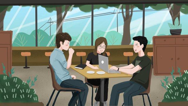 オリジナル青少年交流相互扶助学習支援コミュニケーションイラスト イラスト素材 イラスト画像