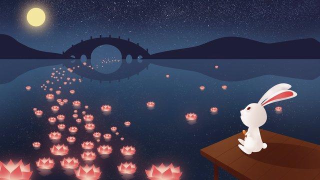 中元節祈福插畫 插畫素材 插畫圖片
