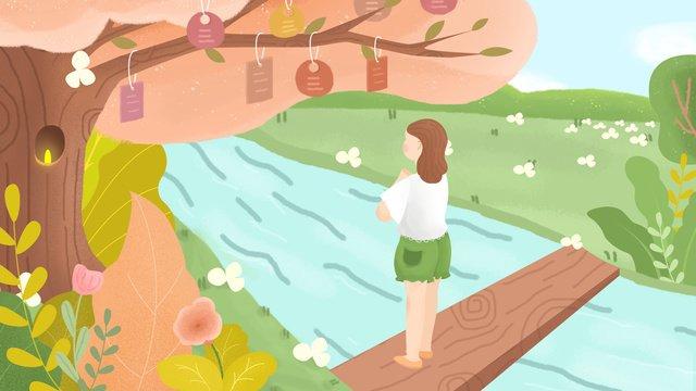 中秋節の橋の下で願い木のイラストを希望 イラスト素材 イラスト画像