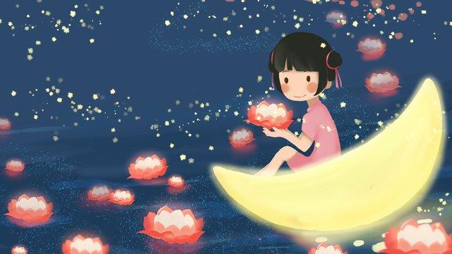 中秋節は川のランタン小さな女の子かわいい夢のために祈る イラスト素材 イラスト画像