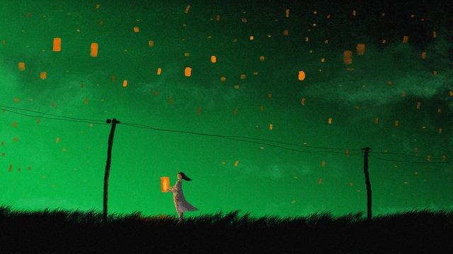 zhongyuan festival kongming lanternは親戚のためのオリジナルイラストを祈る イラスト素材