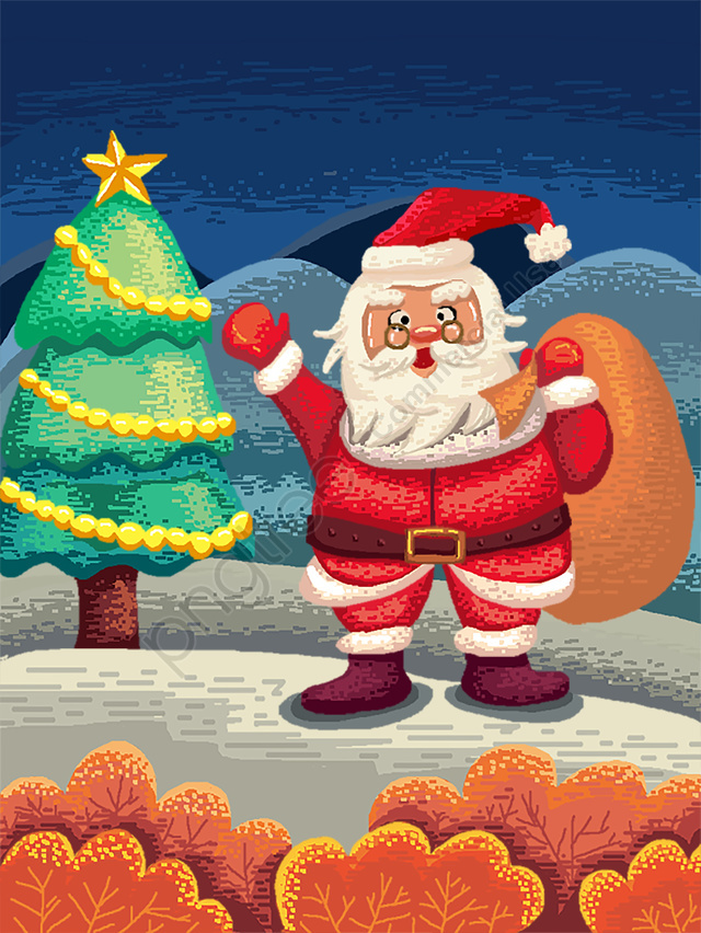 80s Retro Pixel Christmas Santa Claus Giving Gifts Painting