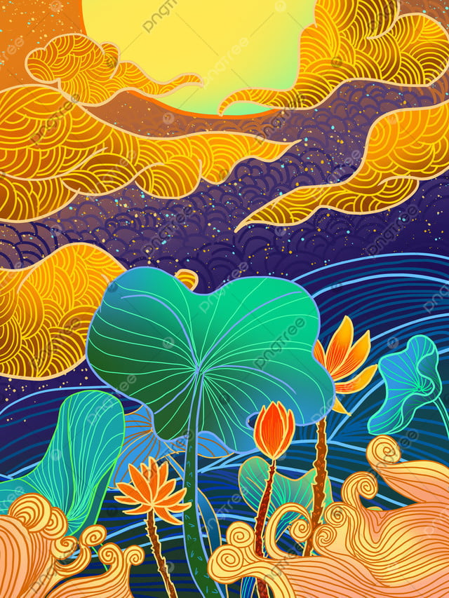 Lotus Radiant Illustration Under The Stars, Ambilight, Lotus, Lotus Leaf llustration image