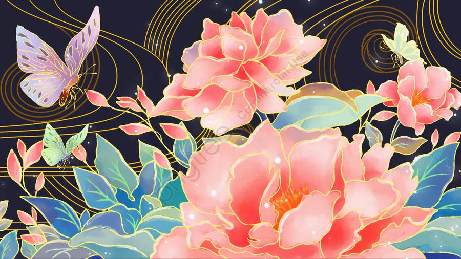Ambilight水彩牡丹の花プノンペンの図, Ambilight, 水彩画, 牡丹 llustration image