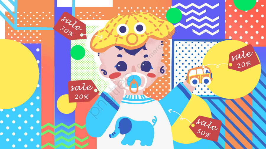 Little Baby Taobao Carnival Pop Style Fashion Illustration, Baby, Young Child, Pop llustration image