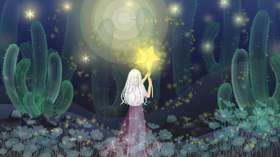 通気性感覚イラスト月光少女サボテン癒しの風, 通気性, 月明かりの下で女の子, 星 llustration image