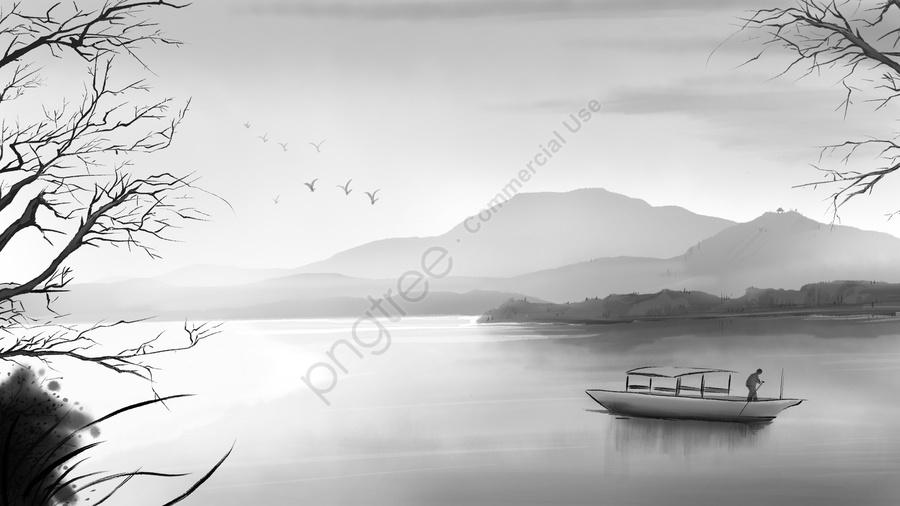 中國風復古山水水墨插畫psd, 中國風, 復古, 復古水墨 llustration image