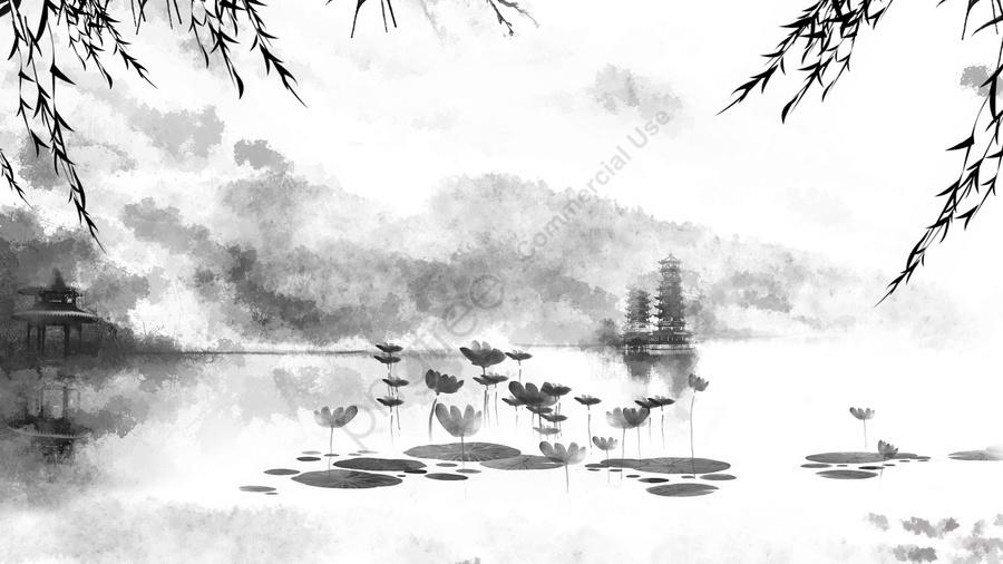 Trung Quốc Phong Cách Mực Hồ Sen Mùa Hè, Phong Cách Trung Quốc, Ao Sen Mùa Hè, Phong Cảnh Mực llustration image