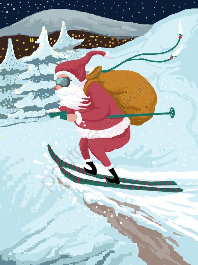 عيد ميِد، 80s، Retro، البكسرة، تصوير، لقطات فوتغرافية، Claus Santa، Ski, عيد الميلاد, 80s، Retro، بكاء، تصوير، Illustration, 80s llustration image