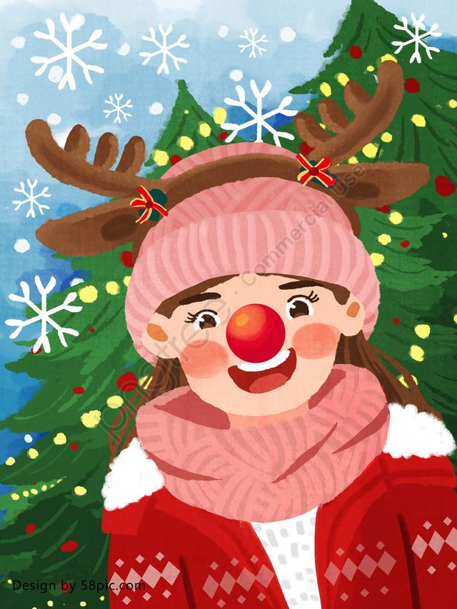 Christmas girl dressed as a deer original hand drawn illustration, Christmas, Merry Christmas, Dressed Up As A Deer llustration image