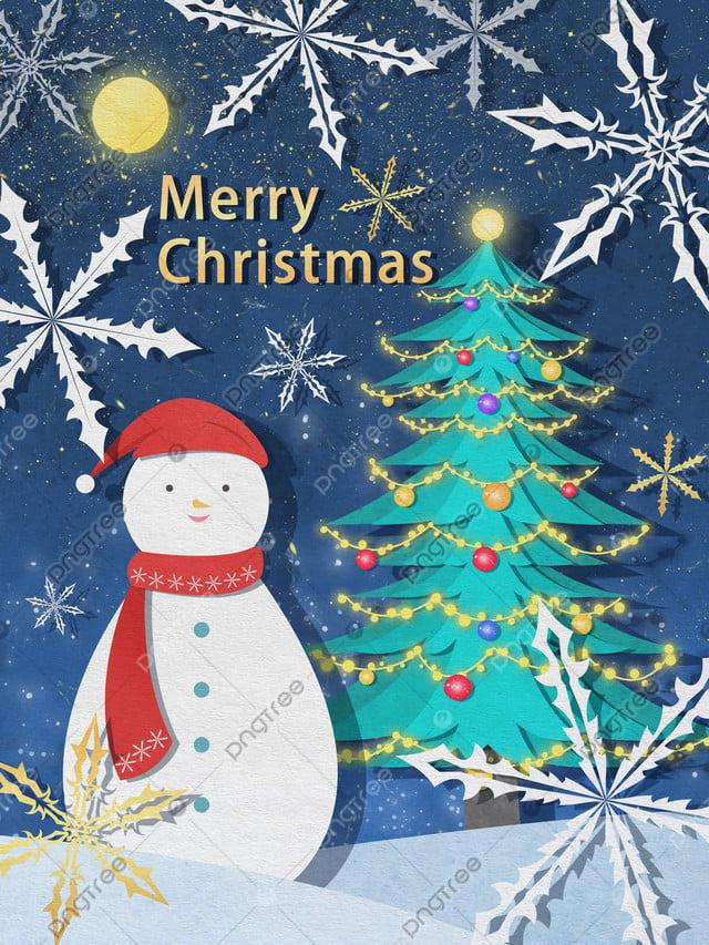 Giáng Sinh Cắt Giấy Minh Họa Gió Dưới Những Ngôi Sao Cây Thông Noel Và Người Tuyết, Giáng Sinh, Cây Thông Giáng Sinh, Người Tuyết llustration image