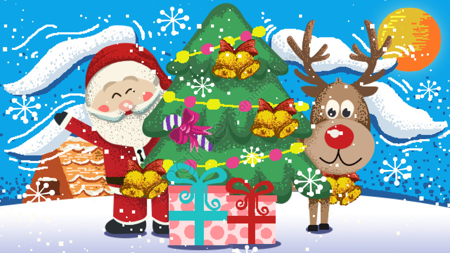 Christmas Illustrations Vintage.Vintage Pixel Christmas Santa Claus And Elk Gifts