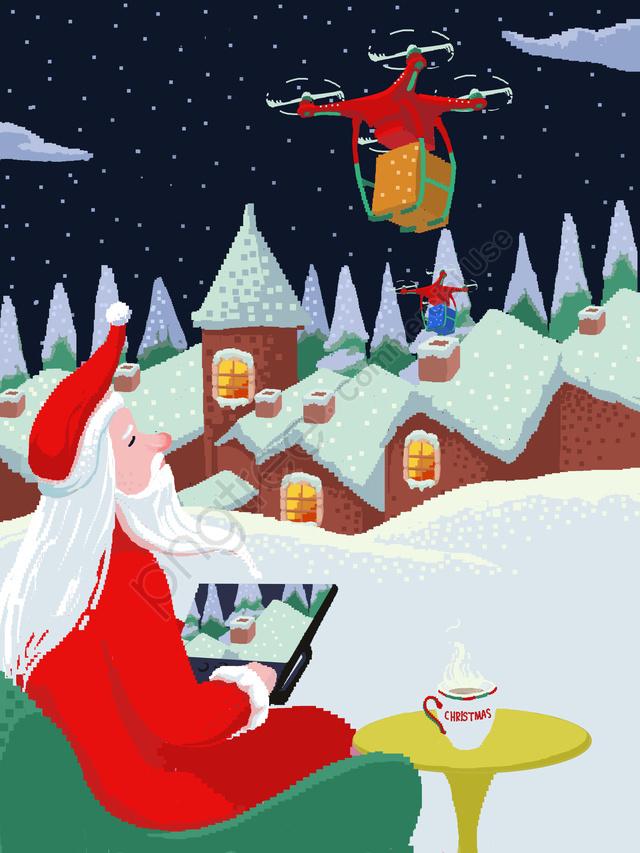 क्रिसमस चित्रण वॉलपेपर सांता क्लॉस ड्रोन को नियंत्रित करता है, क्रिसमस का चित्रण, क्रिसमस वॉलपेपर, सांता क्लॉस llustration image