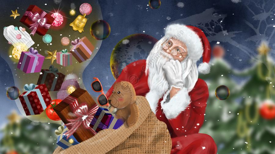 عيد الميلاد واقعية سانتا كلوز أجراس شجرة هدية الشتاء مهرجان الثلج, عيد الميلاد, الواقعية, بابا نويل llustration image