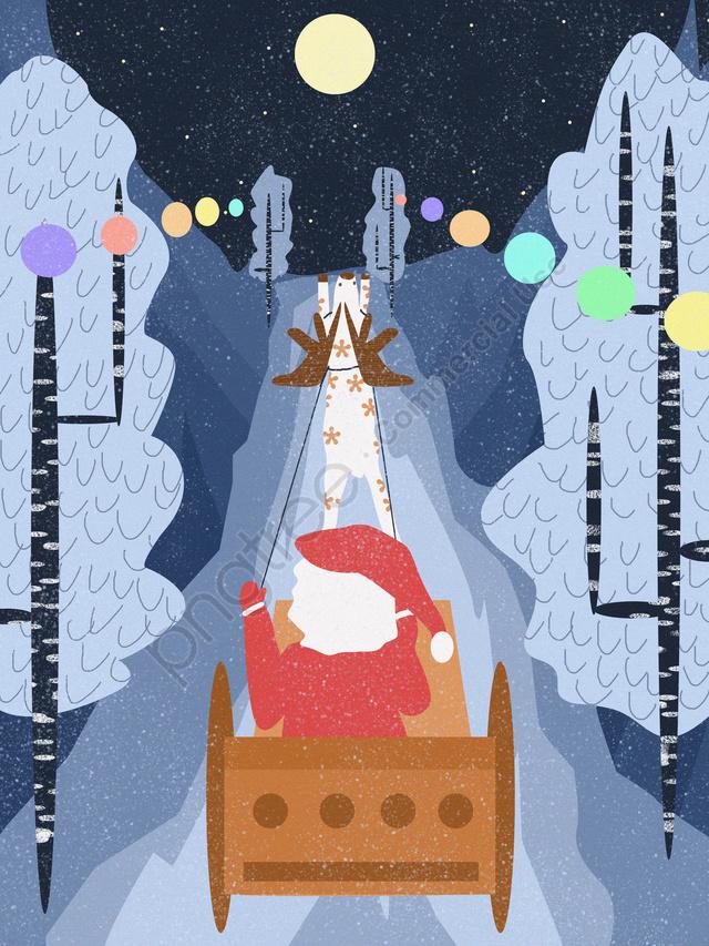 عيد الميلاد سانتا كلوز التوضيح الأصلي, عيد الميلاد, بابا نويل, شجرة عيد الميلاد llustration image