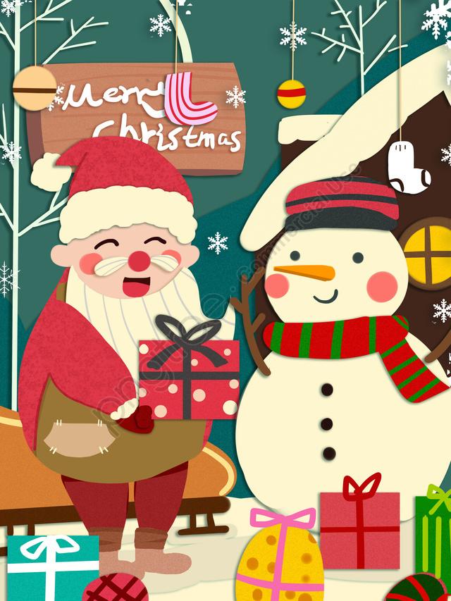 عيد الميلاد سانتا كلوز يعطي هدية لطيف ورقة دافئة قطع الرياح التوضيح, عيد الميلاد, بابا نويل, هدية llustration image