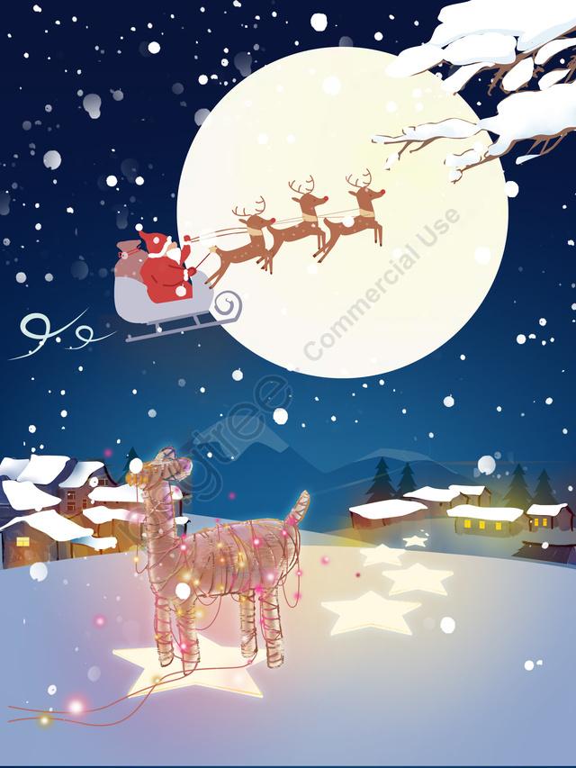 عيد الميلاد سانتا كلوز القمر والقرية, عيد الميلاد, بابا نويل, قمر llustration image