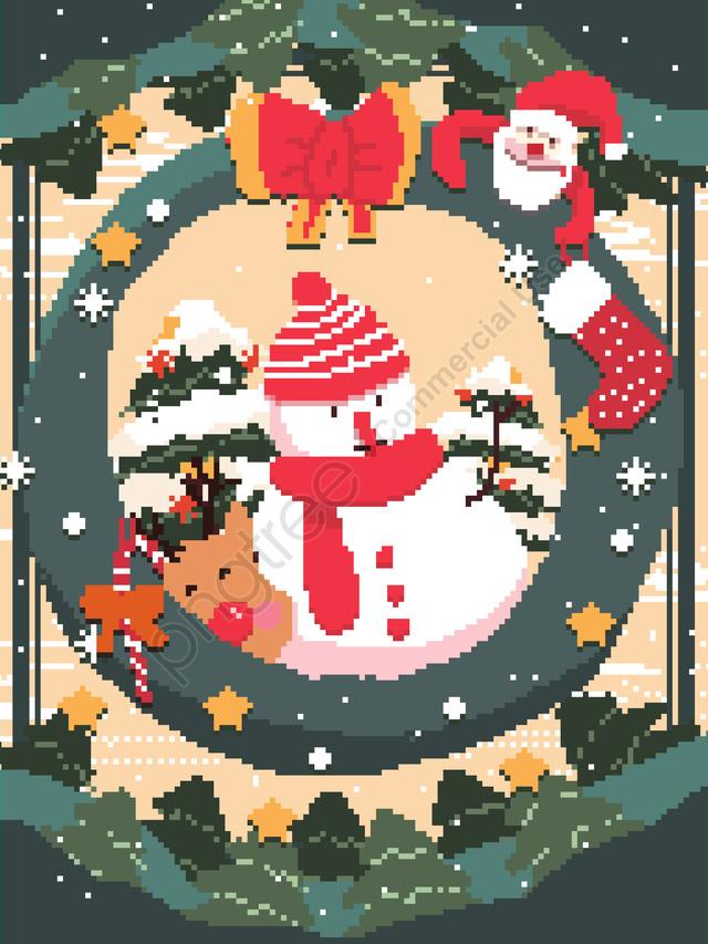 عيد ميِد، Claus Santa، Retro، Pixel، ريح، تصوير، ب، التوضيح، الخلفية، الخلفية, عيد الميلاد, بابا نويل, ثلج llustration image