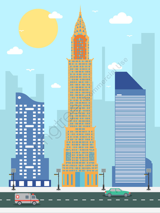 City silhouette of new york empire state building vector illustration, City Silhouette, New York, Empire State Building llustration image